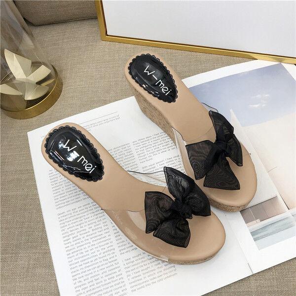 Sandale sabot  ciabatte 7 cm nero corda  platform simil pelle eleganti 10
