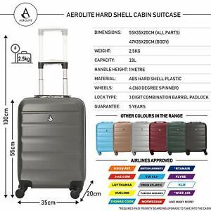 1bff934a0 Aerolite ABS maleta equipaje de mano cabina Rígida ligera con 4 (carbón)