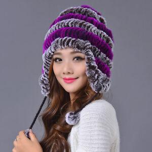 70d8a4b8637d1 Real Rex Rabbit Fur Trapper Hat Women Winter Ear Protector Cap ...