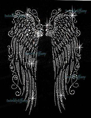 "HOTFIX RHINESTONES HEAT TRANSFER I-RON ""HALLOWEEN ANGEL WING """