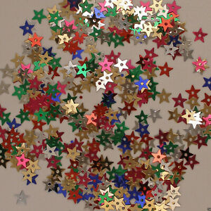 etc Sequins Tiny Mixed Color Stars Red Silver Blue Yellow ~800 pieces Loose