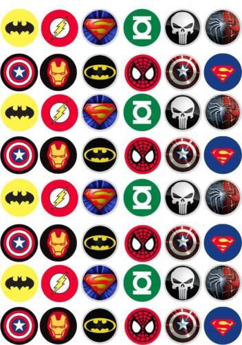 Marvel Hero Avengers Anniversaire Gâteau Tasse fairy bun TOPPERS COMESTIBLES PREMIUM gaufrette