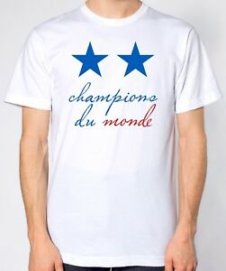 Details About Champions Du Monde White T Shirt Two Stars France World Cup Winners 2018