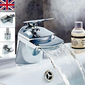 NEW-Modern-Waterfall-Bathroom-Tap-Basin-Sink-Mono-Mixer-Chrome-Cloakroom