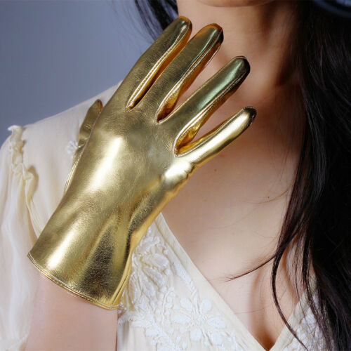 "LATEX LONG GLOVES Shine Leather Faux Patent PU 20/"" 50cm Opera Golden"