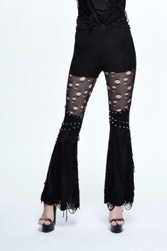 Devil Fashion Razor Flared Leggings Spikes Fishnet Gothic Punk Witchy Pt053 by Devil Fashion