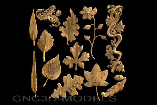 3D Model STL for CNC Router Engraver Carving Artcam Aspire Leaf Tree Wood v435
