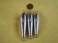 30 In Line Trolling Sinker W/2 S. Steel Wire Through Eye 5, 4, 3, Oz. 10 Each