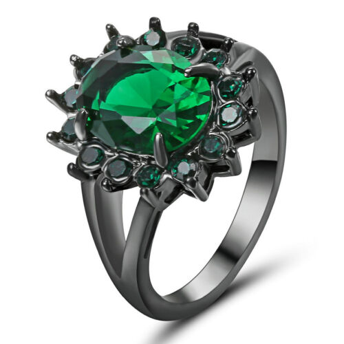 Size 6 Oval Green phire Crystal Wedding Ring 10KT black Gold Filled Jewelry