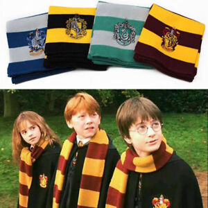 Harry-Potter-Schal-Strickschal-Gryffindor-Slytherin-Hufflepuff-Ravenclaw-Cosplay