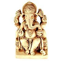 """GANESHA STATUE 4.5"""" Hindu Elephant God HIGH QUALITY Sitting White Resin India"""