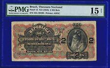 Brazil Banknotes 2 Mil Reis 1918  P19A ( ZELLA)  CHOICE FINE PMG15 NET