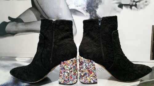 0WOMEN BETSEY JOHNSON BOOTS embellished Pointed BLACK LACEmulticolor EU 39 ,40