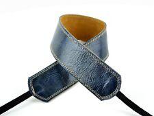 "Pete Schmidt Leather 2"" Camera Neck Strap (Vintage Blue) Cream Stitch - NEW"