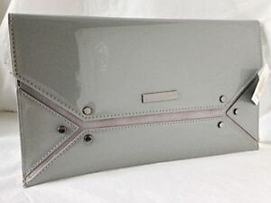 cda9ffc8453cb NEW GREY FAUX PATENT LEATHER & SUEDE EVENING DAY CLUTCH BAG WEDDING ...