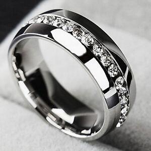 Sz4-15-Men-Women-CZ-Couple-Stainless-Steel-Wedding-Ring-Titanium-Engagement-Band