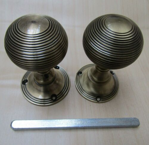 Solid brass old retro country style MORTICE KNOBS interior lever door handles