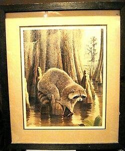 Vintage-Double-Signed-amp-Num-Lithograph-Arthur-Singer-Raccoon-Cypress-Swamp-frame