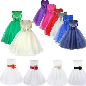 Kids-Baby-Flower-Girls-Party-Sequins-Dress-Wedding-Bridesmaid-Princess-Ball-Gown