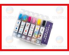 Prefilled - 6 Refillable Cartridges for Epson Artisan 1430 + Syringes + Needles