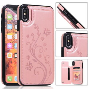 Flower-Pattern-PU-Leather-Flip-Wallet-Stand-Case-Cover-For-iPhone-XS-Max-XR-X-8