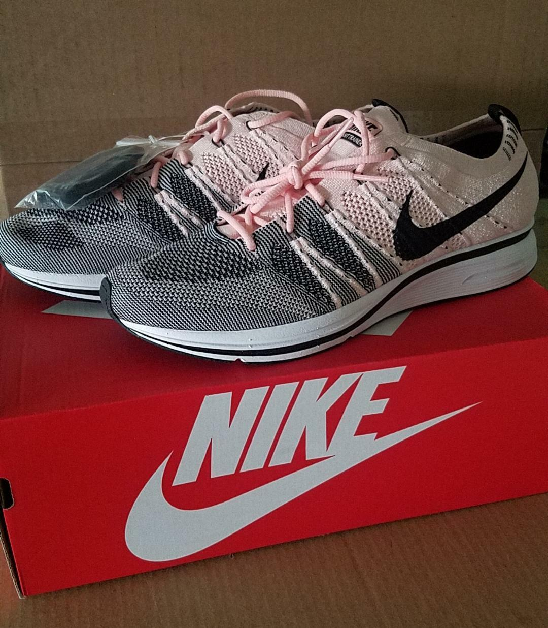 NEW Nike Flyknit Trainer Sunset Tint Pink Black White AH8396-600 size 10 New shoes for men and women, limited time discount
