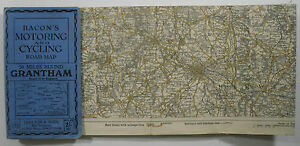 Approx-1910-old-Bacon-039-s-Motoring-amp-Cycling-Road-Map-50-miles-around-Grantham