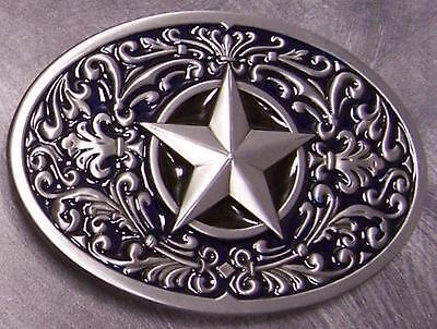 Pewter Belt Buckle novelty Sculptured Star blue NEW