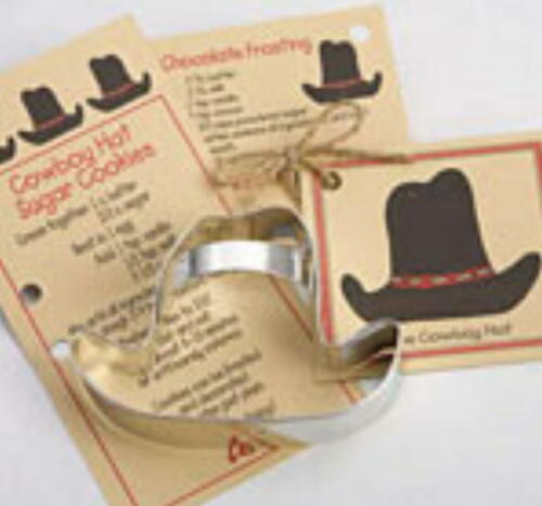 Ann Clark ~  COWBOY HAT ~ Tin Plated Steel Cookie Cutter With Recipe Card  USA