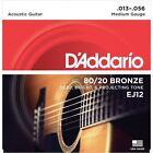 12 X D'Addario EJ12 80/20 Bronze Medium Gauge Acoustic Guitar Strings 13 - 56