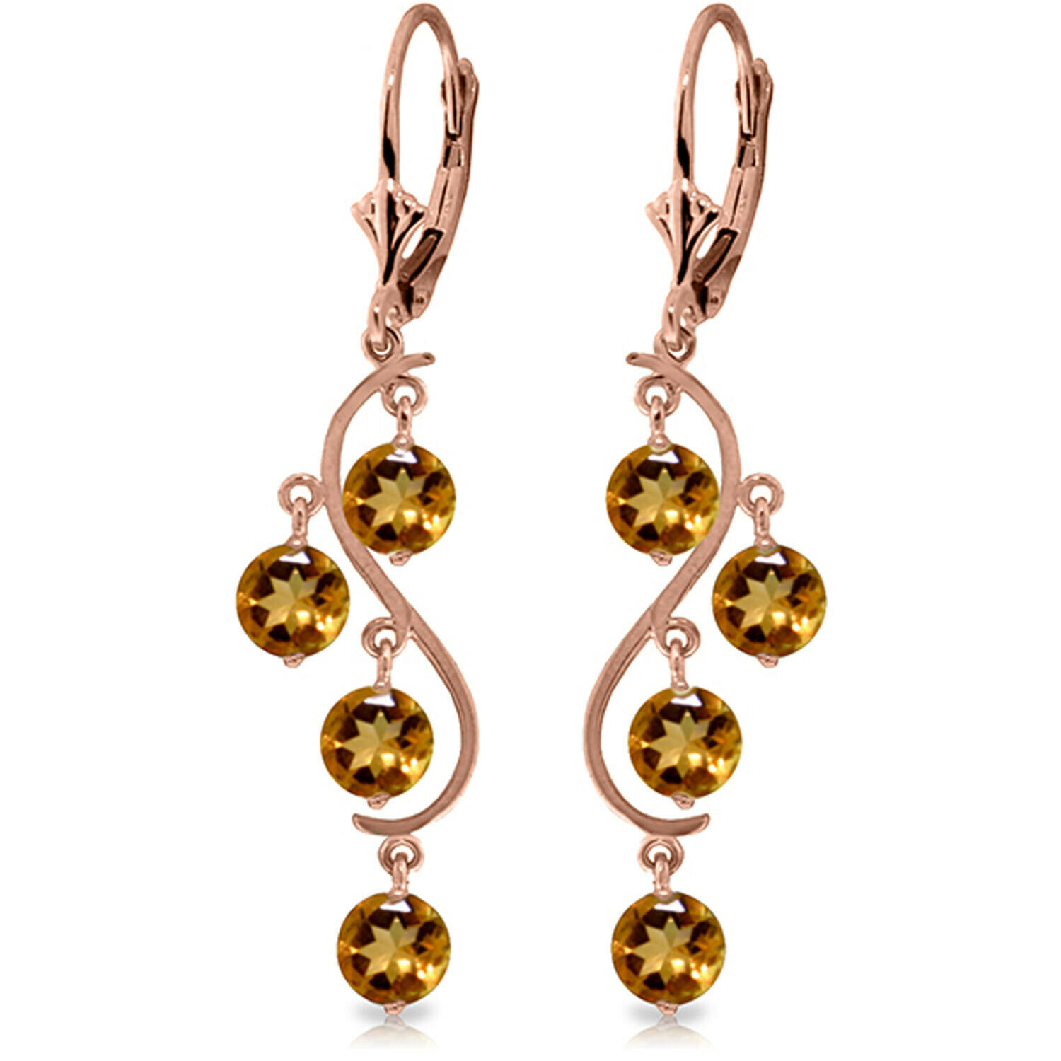 4155a3f5e4530 4.95 CTW Earrings Drop Citrine gold pink Solid 14K fmew9cea51451 ...