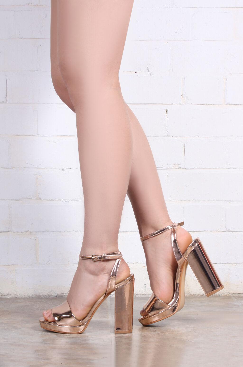 Cathy metallic pink gold heels