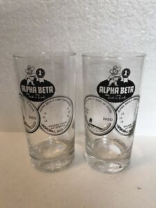 2-RARE-Vintage-1960-ALPHA-BETA-First-In-Foods-Grocery-Stores-Logo-12-Oz-Glasses