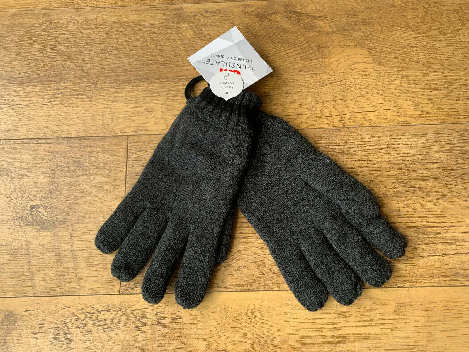 F&F MENS GLOVES Dark Grey Fleece Lined 3M Thinsulate L/XL - BNWT