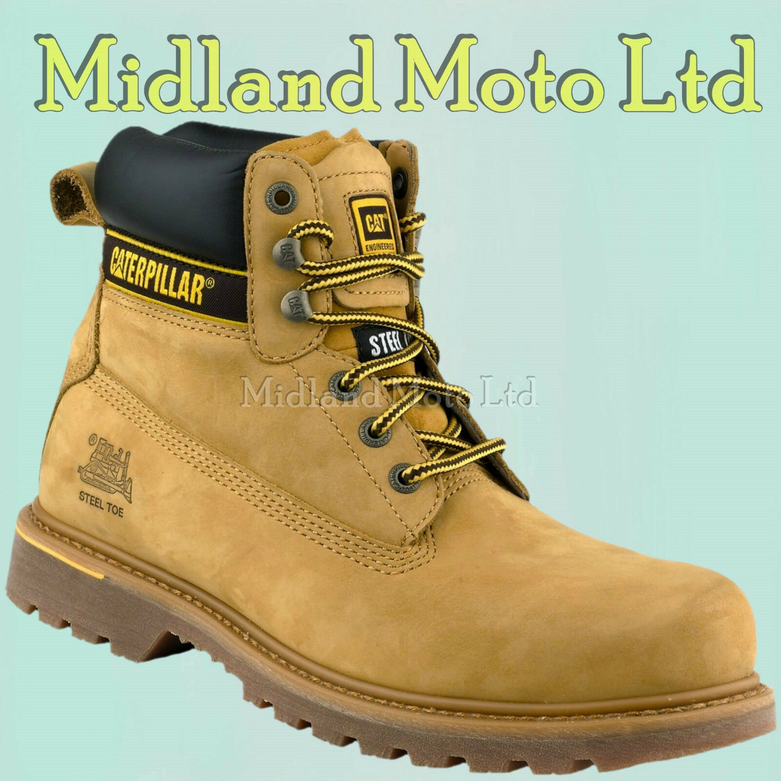Caterpillar Holton SB Steel Toe Cap Safety Honey Nubuck Boots, CAT, Shoes