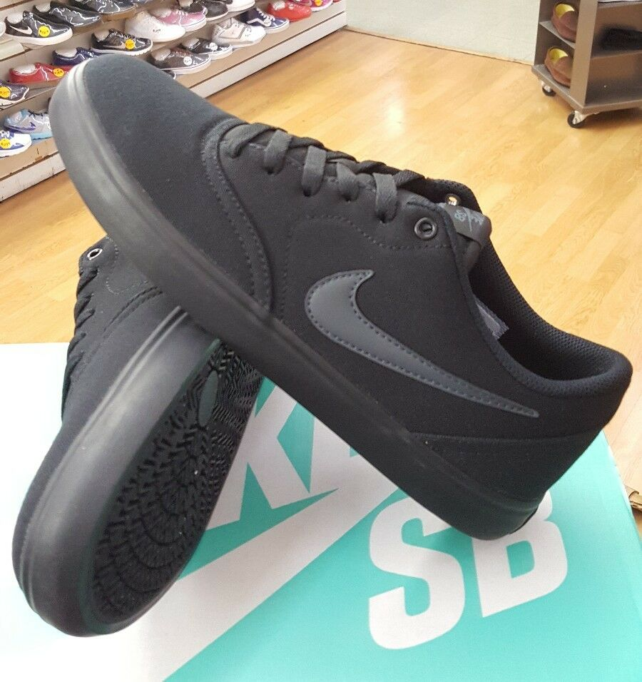 NIKE SB CHECK SOLAR CANVAS 843896 002 BLACK ANTHRACITE MEN US SZ 8