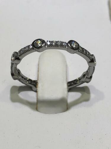 Or Noir Argent Sterling Blanc Saphir Pave Halo Stack Eternity Band Ring Sz7