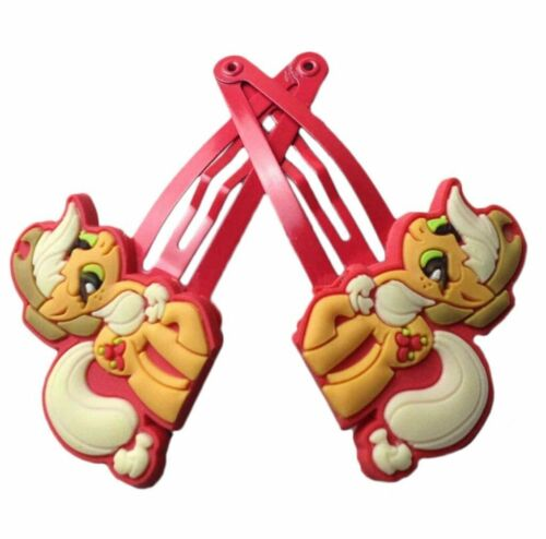 New Girls My Little Pony HAIR CLIPS APPLE JACK Yellow red pair clips
