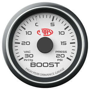 SAAS Performance 52mm Turbo Boost Gauge White Face