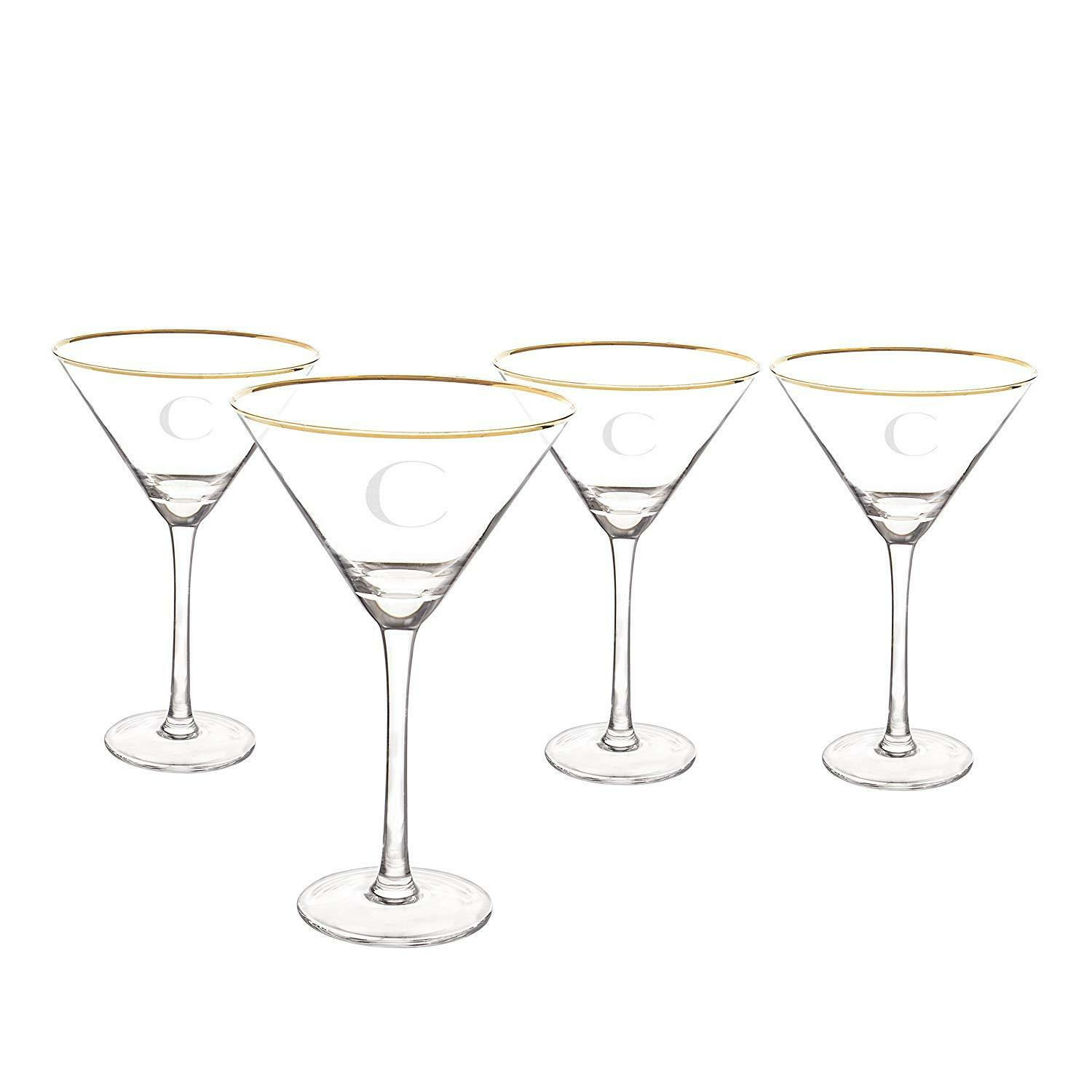 Cathy's Concepts 1381G-4-C Personalized gold Rim Martini Glass Set (Set of 4)