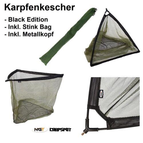 "XXL 36/"" Karpfenkescher inkl 92cm Bügelöffnung Landing Net Metallblock Tasche"