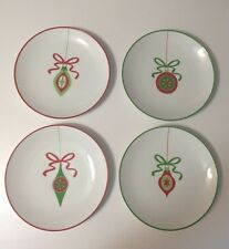 Crate and Barrel Christmas Ornament Dessert Salad plates set of 4 New Dishes