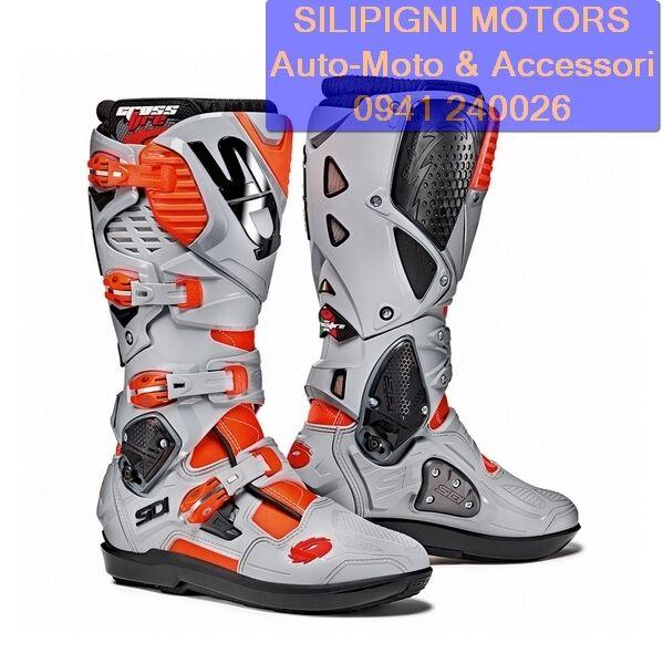 SIDI CROSSFIRE 3 SRS ROSSO FLUO / CENERE - Stivali Moto Cross Enduro Off Road