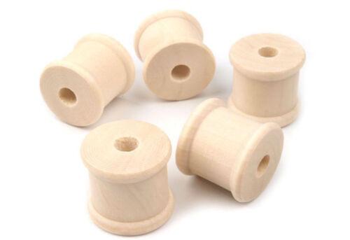 5 x Plain Wood Spools Bobbins Craft DIY Sewing