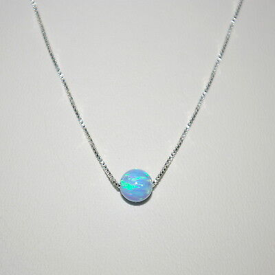 Sterling Silver 925 Fine BOX Chain with 6mm Light BLUE OPAL BEAD Necklace