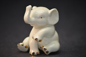 Lenox Porcelain Baby Elephant Figurine with Gold Accents