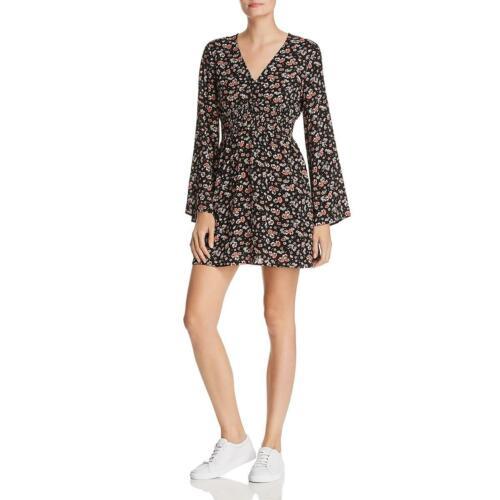En Crème Womens Black Floral Print Long Sleeves Casual Mini Dress L BHFO 0350