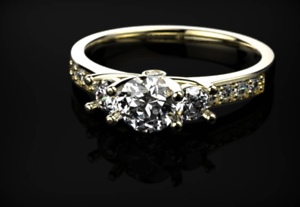 2ct Round Cut Diamond Engagement Ring 14k Yellow gold Finish Trilogy Solitaire