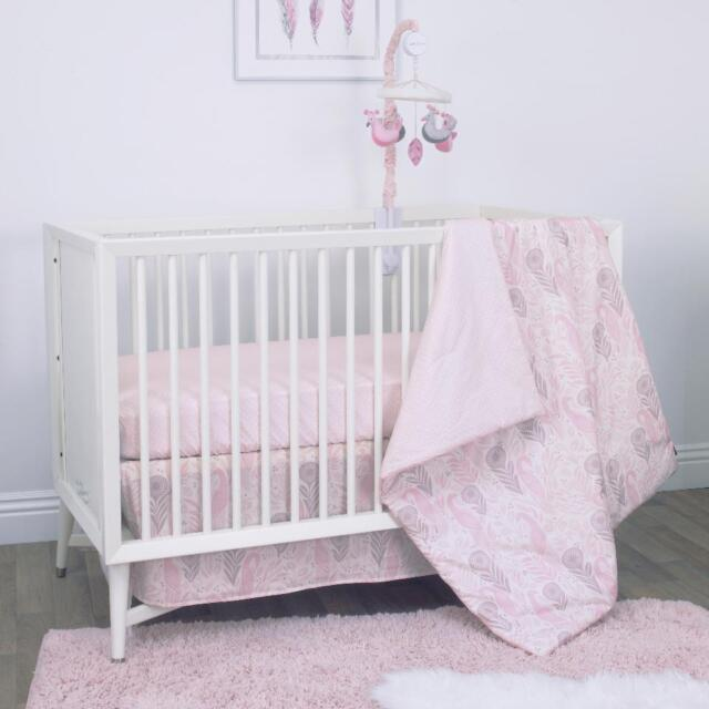 wonderful Peacock Baby Bedding Sets Part - 13: DwellStudio Boheme 3pc Pink Grey Peacocks Feathers Crib Bedding Set