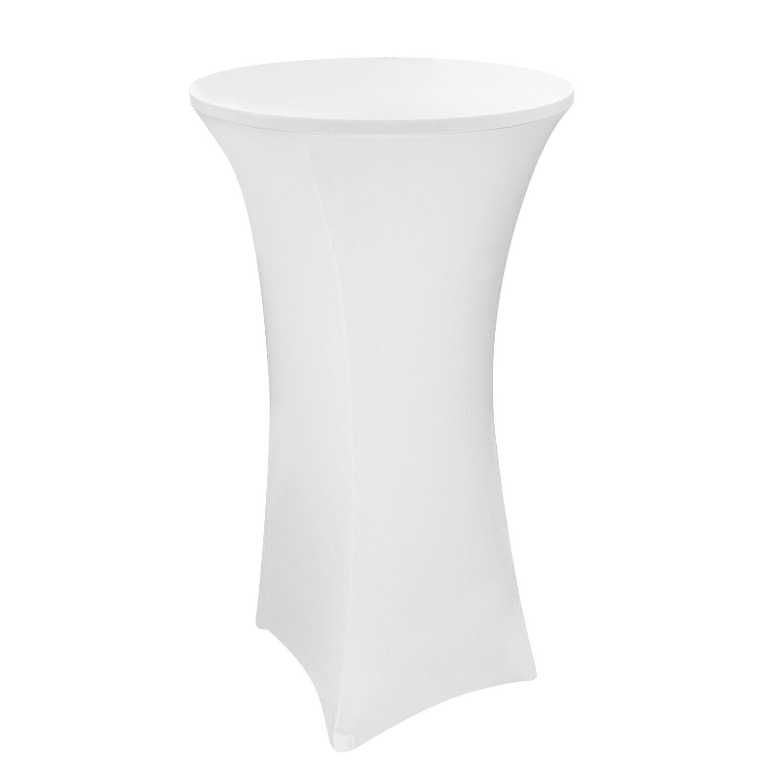 10 x Stretch Stehtischhusse Stehtisch Bistrotisch Husse 70x120 bis Ø 70 cm weiß
